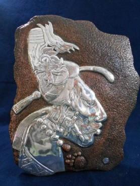 LÁPIDA ROSTRO MAYA, objetos antigüos de bronce, figuras de plata, esculturas an