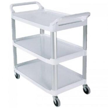 Rubbermaid Carro de servicio blanco con ruedas soporta 91 kg de carga