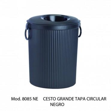 Bote de basura con tapa circular  Color Negro