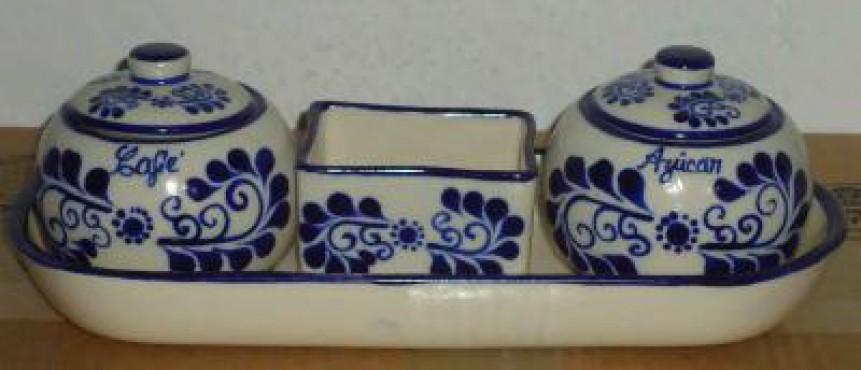 Juego de Azúcar y Café decorado Sol cerámica de alta temperatura.
