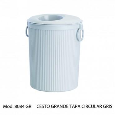 Bote de basura con tapa circular  Color Gris