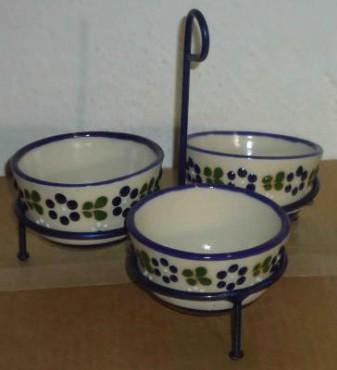 Juego de Salseras con Herrereria elaboradas en cerámica de alta temperatura.