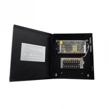 Fuente de Poder Profesional para CCTV de 8 Salidas a 12 Vcd. 5 Amp. Protegido con Fusible Térmico