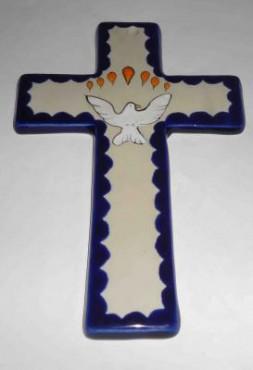 Cruz de Cerámica de alta temperatura decoradas a mano.