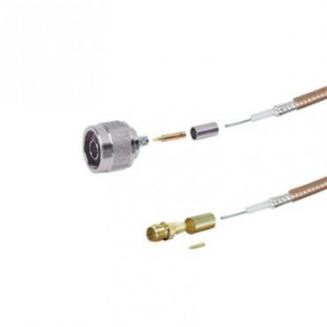 Jumper de 100 cm tipo RG-142/U con conectores N Hembra y SMA Macho Inverso (Hasta 8 GHz).