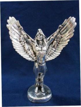 CABALLERO ALAS EXTENDIDAS, artesanias figuras en plata, objetos antigüos de bron