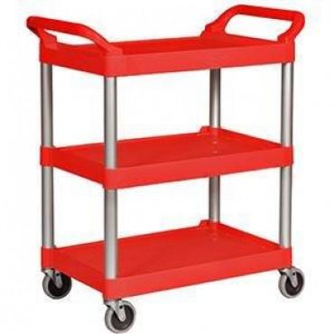Carrito de servicio Rubbermaid con ruedas rojo