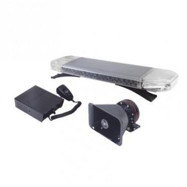 Kit básico para equipar unidades de Seguridad Pública (Barra de Luces Rojo-Azul, Sirena y Bocina)