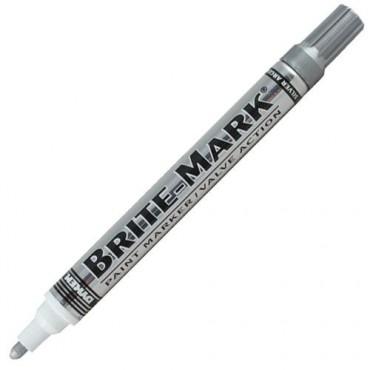 Marcador de Tinta Permanente Mediano BRITE-MARK PLATA.