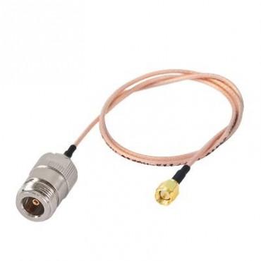 Cable RG-316, con conectores N Hembra en un extremo y en el otro SMA Macho Inverso.