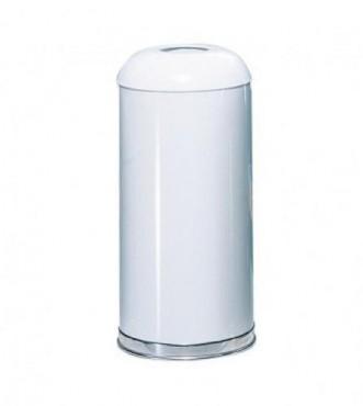 Bote de basura con cenicero de acero inoxidable abierto blanco. 57 L