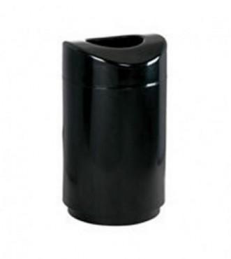 Bote de acero inoxidable elegante con cenicero abierto negro. 57 L, Rubbermaid