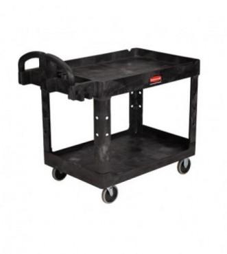 Carro utilitario de doble repisa Negro. para trabajo pesado con ruedas
